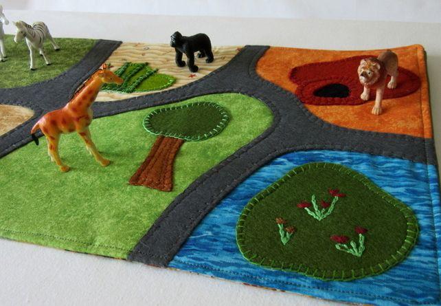 Zoo Travel Play Mat Safari Zoo Play On The Go Play Scene Travel Play Mat Felt Play Mat Travel Toys