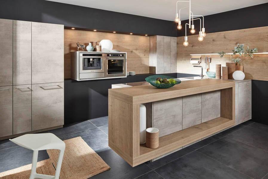 Kuche Mit Gunstigen Fronten Aus Kunststoff Der Serie Stone In Der Ausfuhrung Beton F In 2020 German Kitchen Design Kitchen Inspiration Modern Contemporary Kitchen