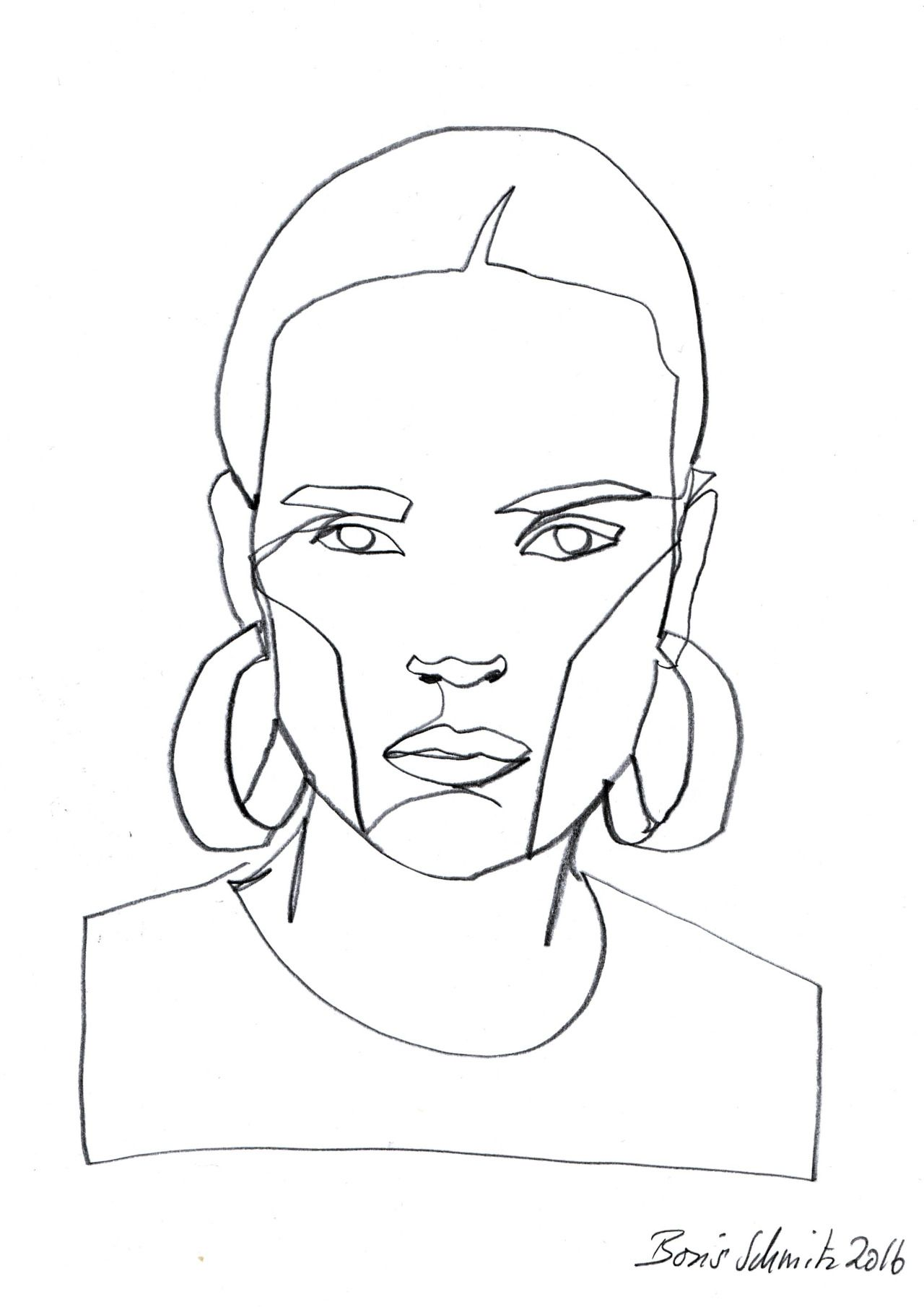 "Contour Line Drawing Xbox One : ""gaze ″ continuous line drawing by boris schmitz"