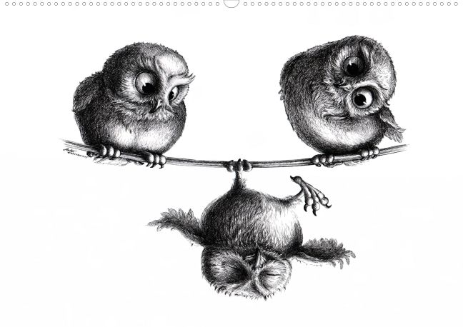 Cheeky and funny animals. Masterfully, with ironic humor – classic in pencil and ink – put on paper.