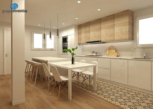 Cocina a dos frentes 3d en vilanova i la geltr cocinas for Muebles vilanova i la geltru
