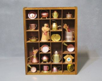 Decorative Shadow Box Vintage Wooden Shadow Box Cabinet With Miniature Brass & Copper