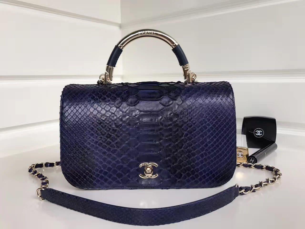 Chanel Python Leather Carry Chic Medium Top Handle Flap Bag A93752 Deep Blue 2017