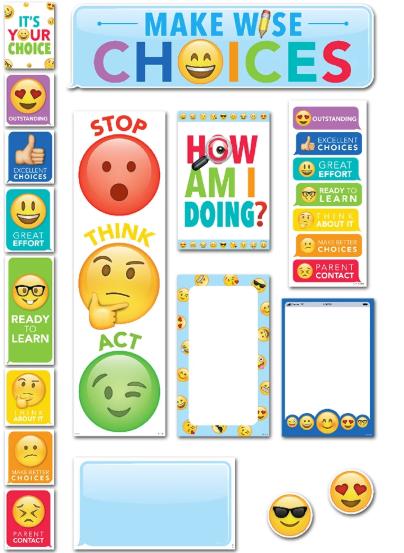 Emoji Fun Behavior Clips Mini Bulletin Board Set Price 9 99 Behavior Clip Charts Clip Chart Bulletin Board Sets
