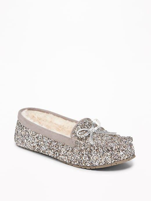 8cbd4e3913c6 Sherpa-Lined Glitter Moccasin Slippers for Women