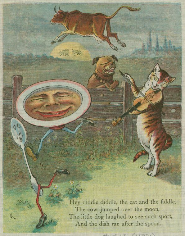 Vintage illustration, Hey diddle diddle, the cat and the