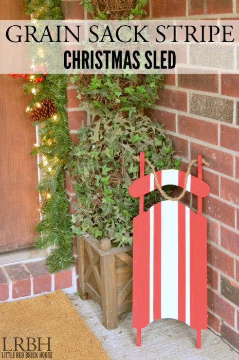Grain Sack Stripe Christmas Sled | LITTLE RED BRICK HOUSE