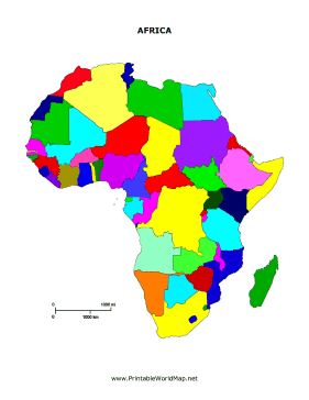 Colorful Map Of Africa.Kids Can Study And Practice Naming All The Countries In