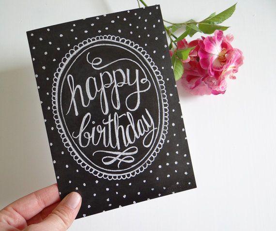 Happy Birthday Card Chalkboard Art Unique Birthday Card Polka