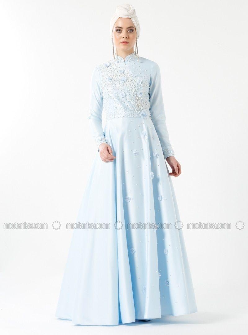 e3a9d1f6d8 Blue - Fully Lined - Crew neck - Muslim Evening Dress - Zehrace ...