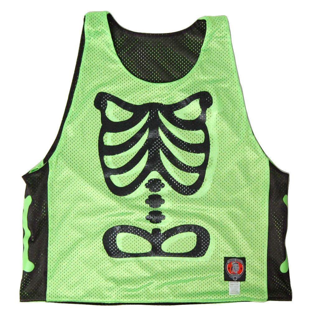 Skeleton Neon Green Lacrosse Pinnie