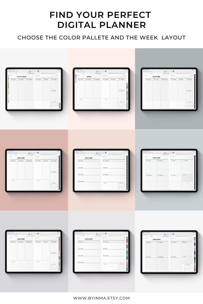 Digital Planner Hourly 2021 Goodnotes Template Notability Planner Ipad Digital Calendar Noteshelf Tablet Planner Digital Bullet Journal In 2021 Digital Planner Weekly Planner Template Digital Calendar