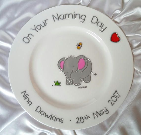 Personalised baby elephant plate baby announcement gift hand personalised baby elephant plate baby announcement gift hand painted baby keepsake unique new baby plate babys 1st birthday gift negle Gallery
