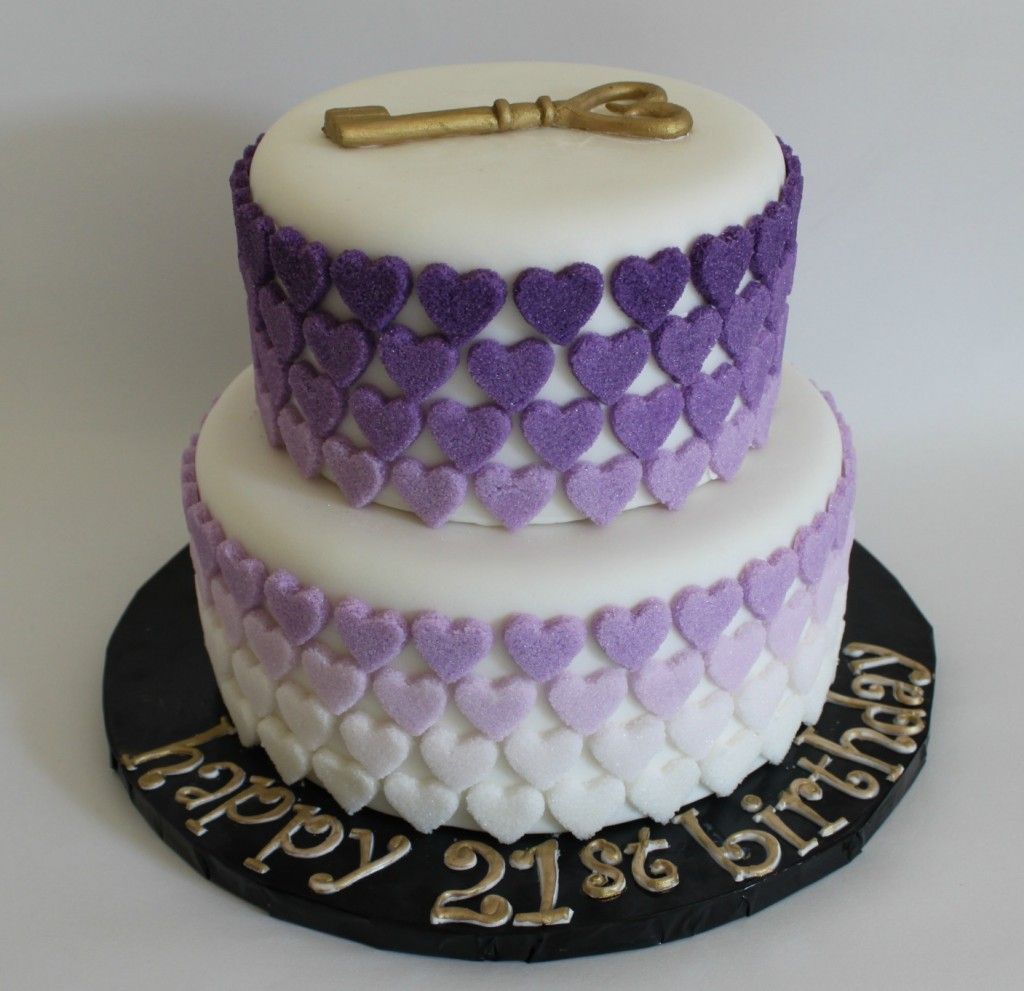 Purple Ombre Sugar Hearts Cake Lil Miss Cakes Pinterest Cake