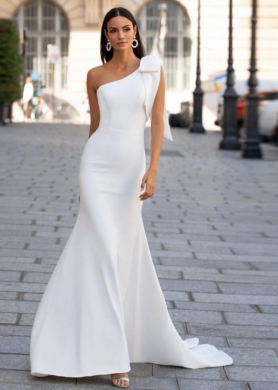 Classic Mermaid One Shoulder Satin Wedding Dress Etsy Satin Mermaid Wedding Dress Satin Bridal Gowns Bridal Dresses [ 1112 x 794 Pixel ]