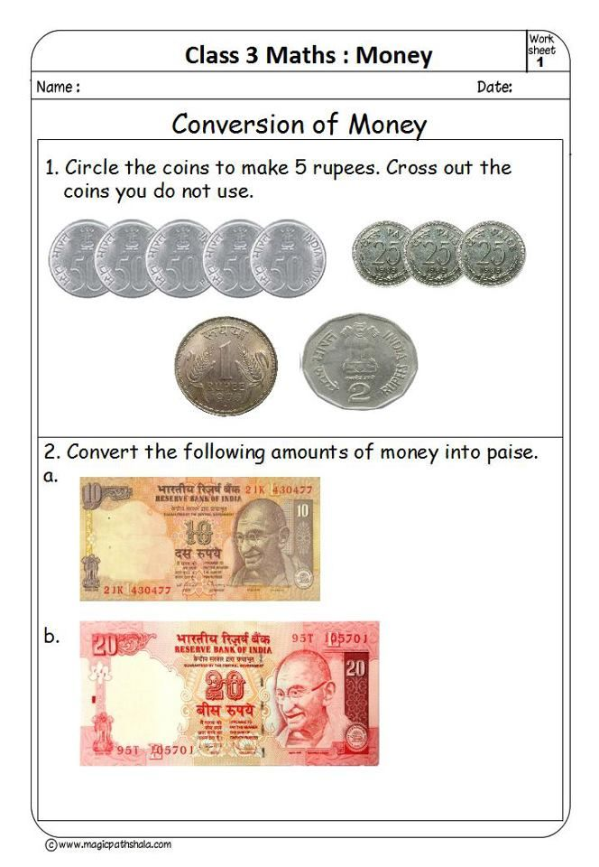 Printable Worksheets worksheets money : Money For Kids Worksheets Conversion Of | math 1 | Pinterest ...