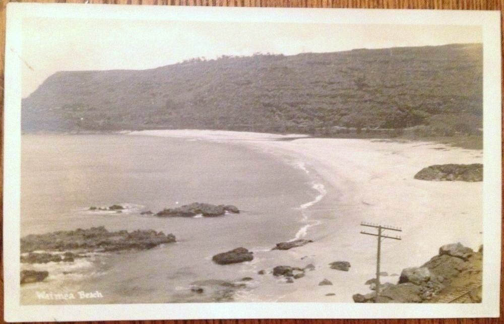 VINTAGE POSTCARD- 1930's Waimea Beach North Shore Oahu Big Wave Surfing TH Hawaii AZO RPPC