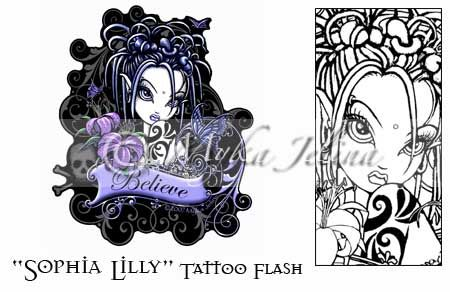 gothic fairy fantasy tattoo flash print sophia lilly coloring colors and coloring pages. Black Bedroom Furniture Sets. Home Design Ideas