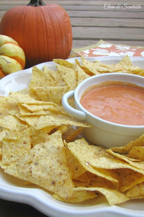 This pumpkin nacho cheese dip will quickly become a fall favorite! // cleanandscentsible.com #recipe #pumpkin