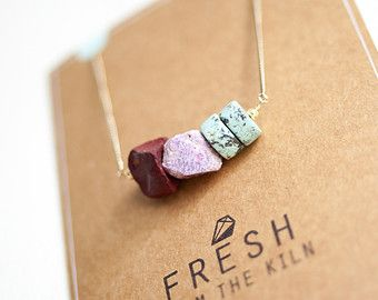 necklace raw gemstone jewellery mineral necklace raw stone jewellery semi precious stone necklace minimal jewellery Mookaite ruby turquoise