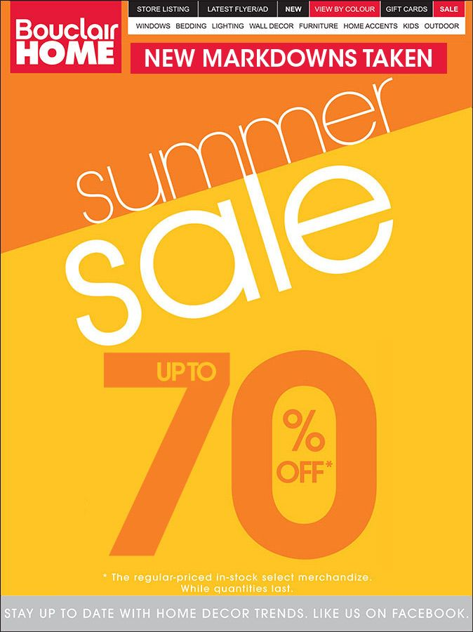 Summer Sale @Bouclair ... So thankful there are no pictures with ...