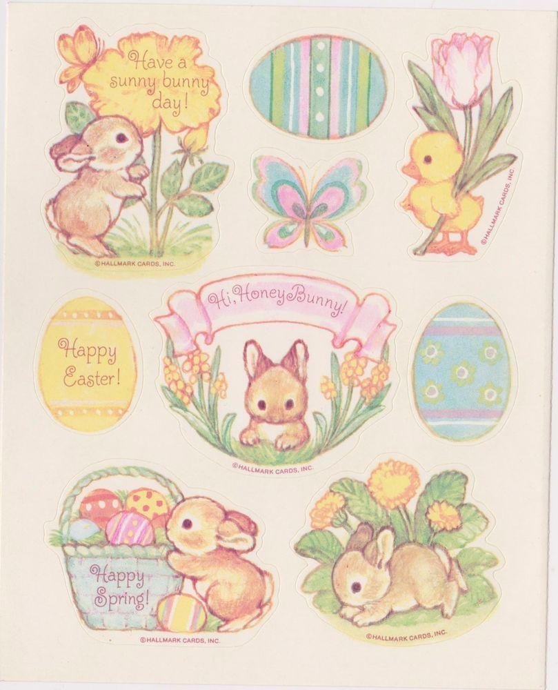 Vtg Easter Bunnies Sticker Sheet By Hallmark Easter Stickers Vintage Easter Sticker Sheets