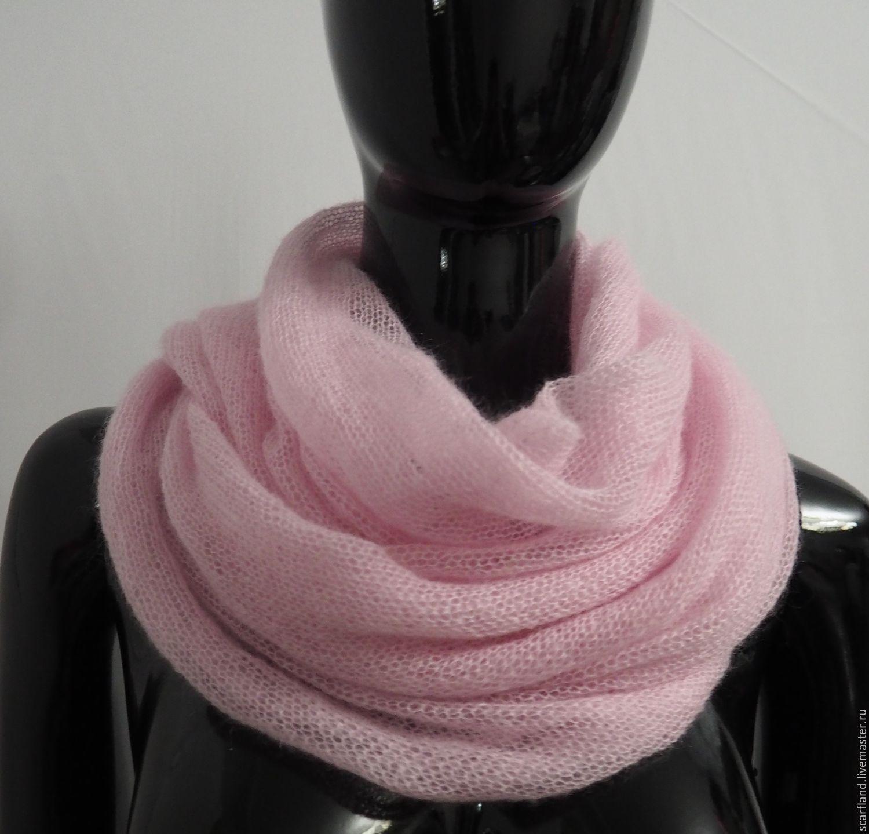 Купить Шарф-снуд из кид-мохера розовый - подарок, снуд, снуд-шарф, шарф из мохера