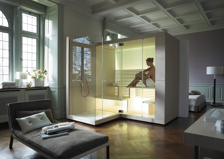 Le sauna design pour la salle de bains et les pi�ces � vivre : gr�ce � un agencement intelligent et beaucoup de transparence Inipi s'int�gre parfaitement dans l'ambiance. Au design �l�gant con�u par EOOS - en exclusivit� pour Duravit.