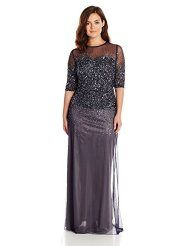 Adriana papell 3/4 sleeve beaded illusion gown