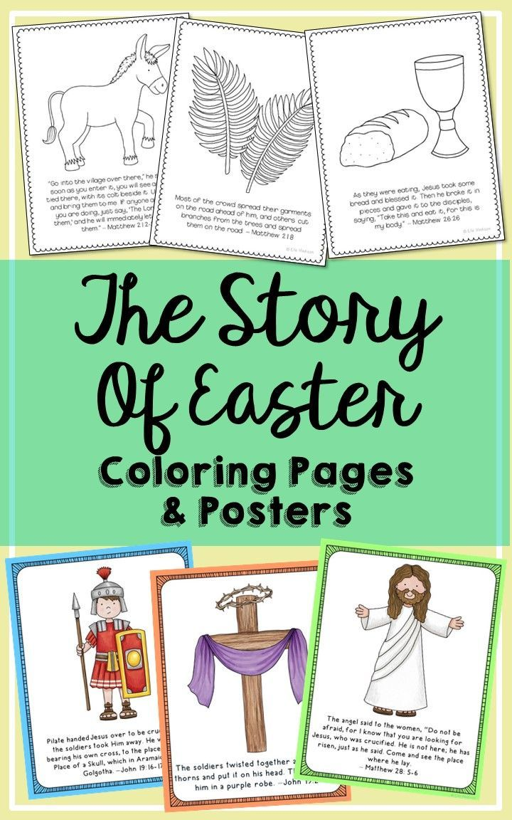 The Easter Story Coloring Pages and Posters. These 12 pages gently ...