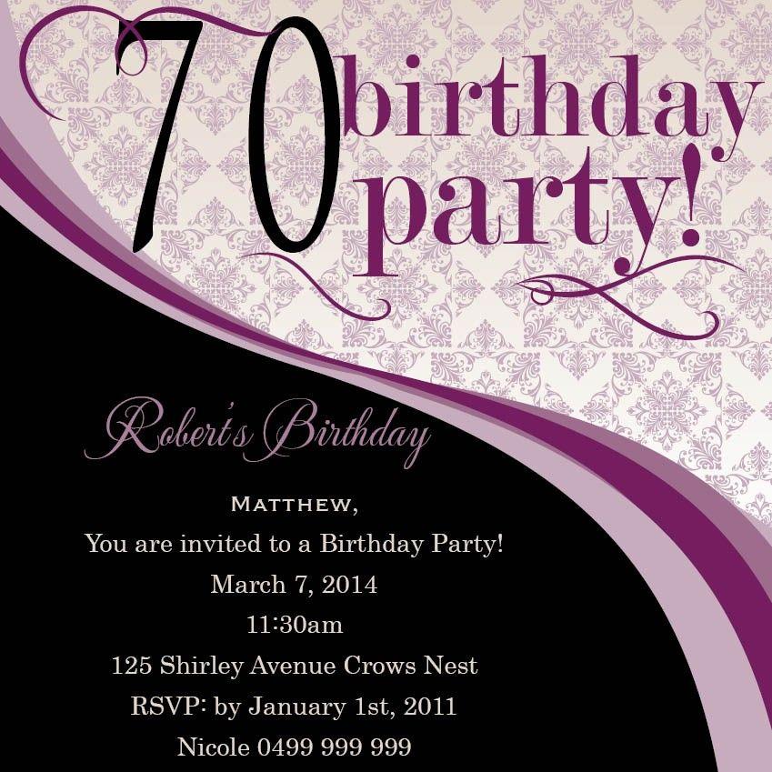 Swirly 70th Square w/ in Aubergine Invitation