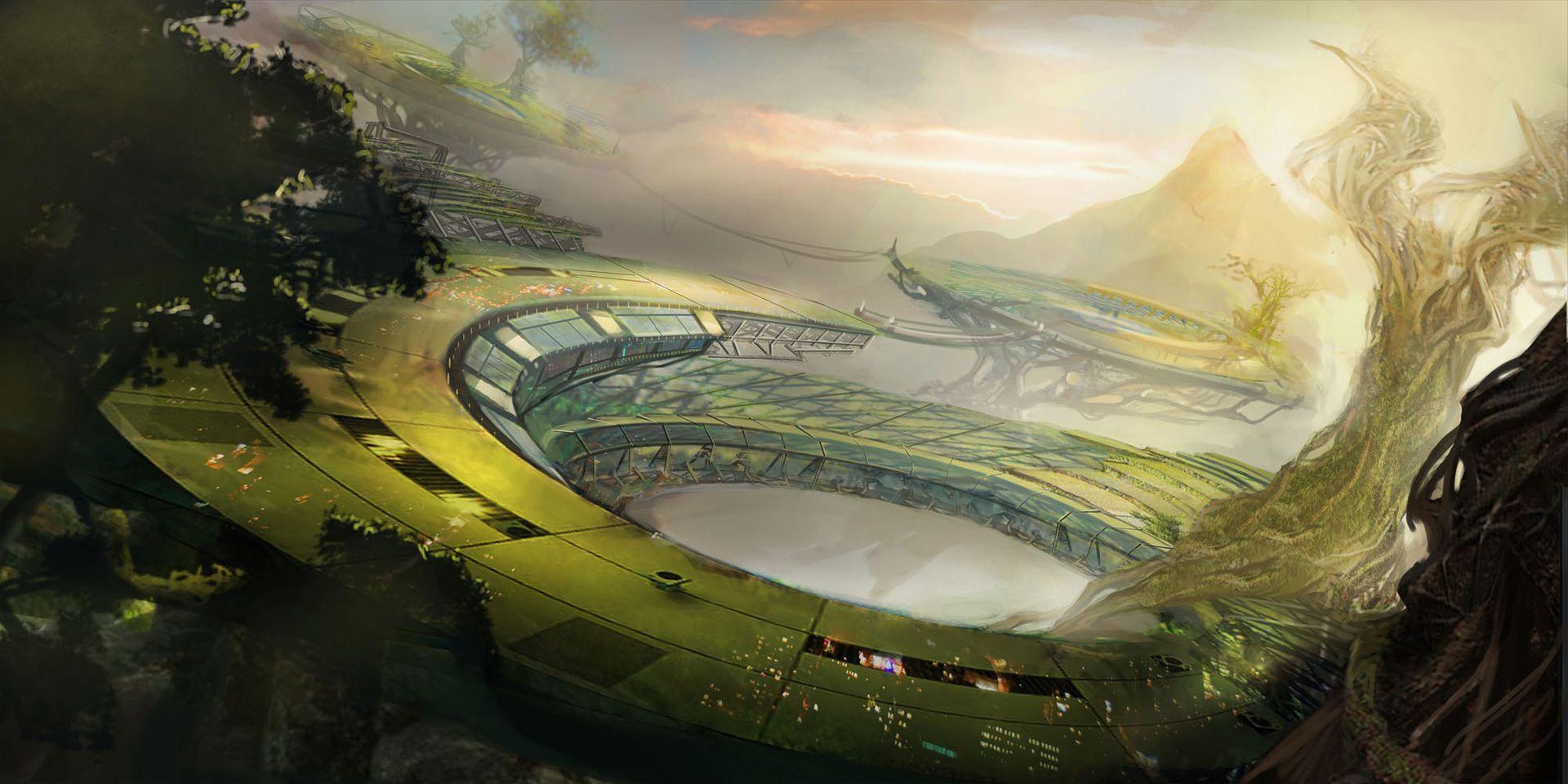 Sci Fi Fantasy Landscape Sci Fi Landscape Wallpaper Background 1920 X 960 Id 151181 Concept Art Game Concept Art Anime Scenery