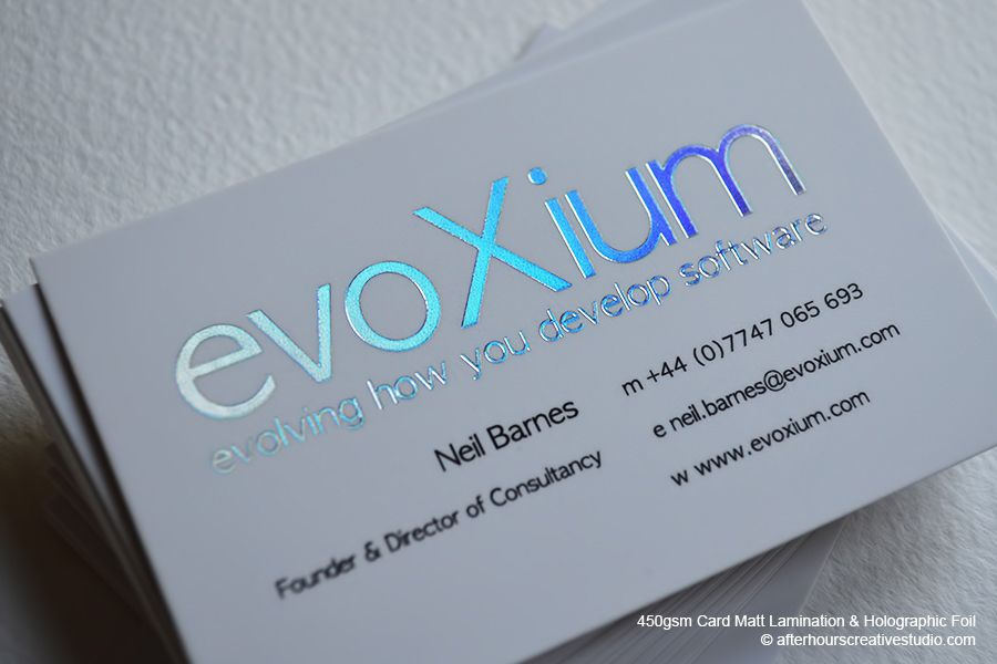450gsm matt laminated business card finished with rainbow silver ...