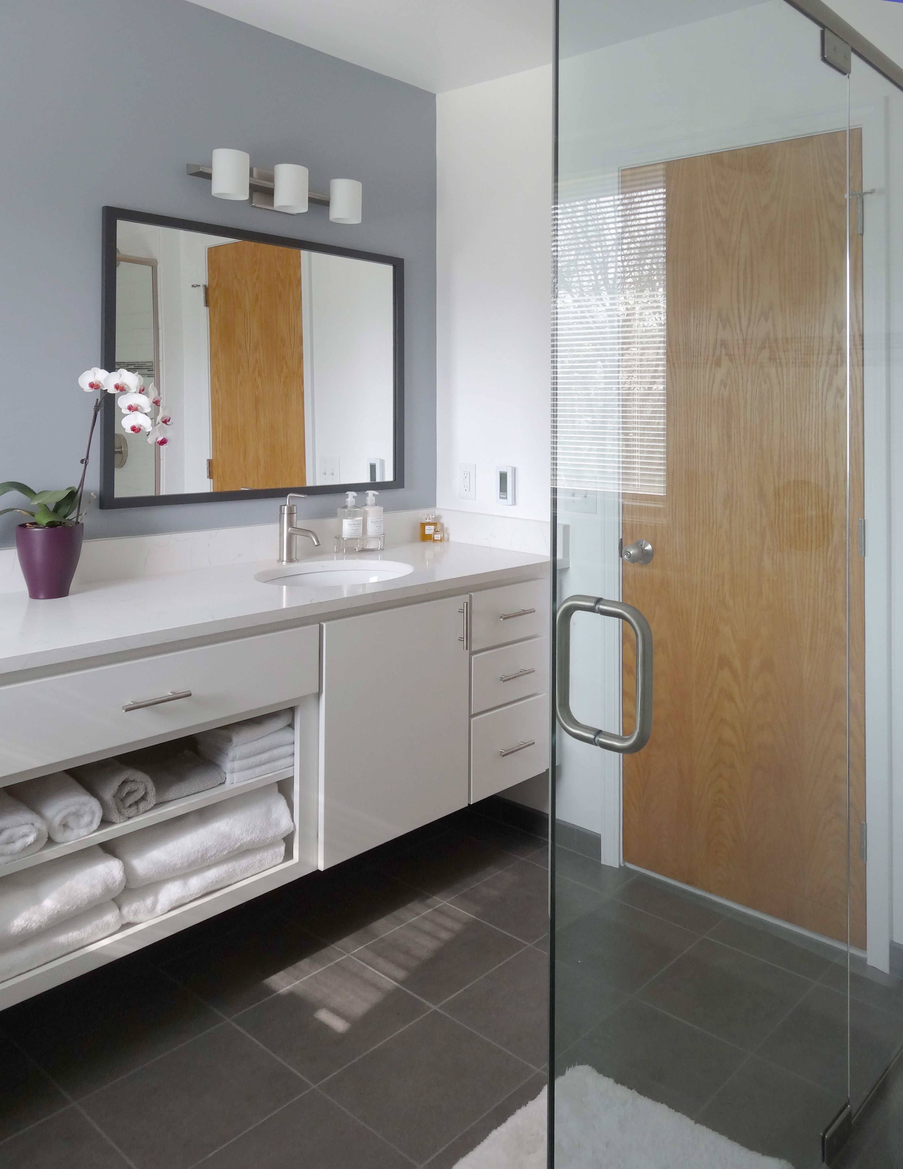 Vicostone Countertops Slate Grey Flooring Exposed Towel Shelf And - Bathroom remodel ann arbor