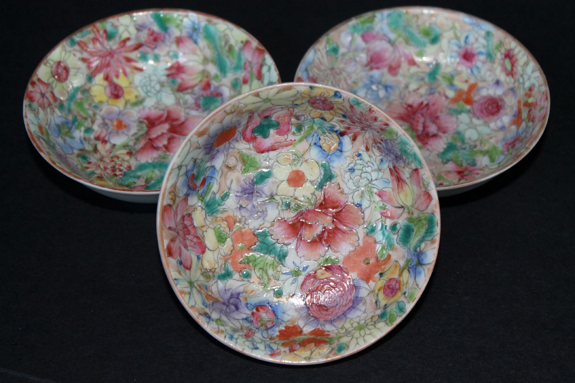 Three Chinese Millefleur dishes - Republic period.