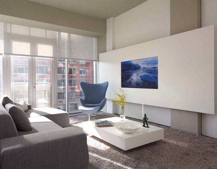 Flachbild TV in ein weißes Wandpaneel integrieren Wohnzimmer - wohnideen tv wand