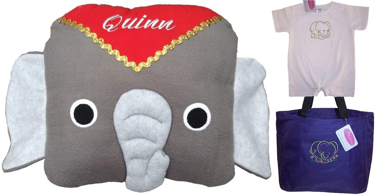 Elephant baby gift set custom embroidered stuffed elephant baby elephant baby gift set custom embroidered stuffed elephant baby onesie and tote bag negle Images