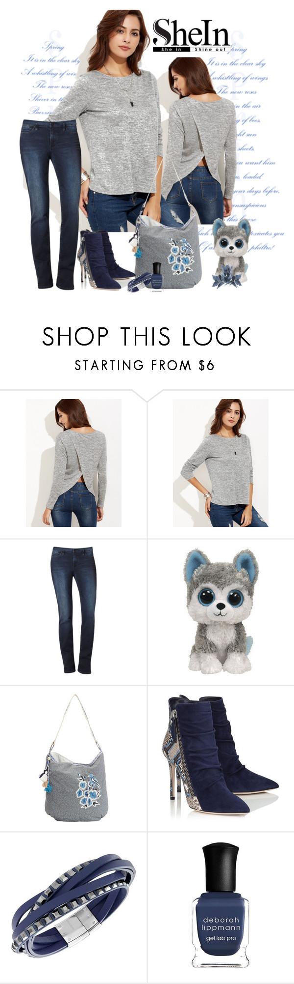 """Shein grey marled knit split back t shirt"" by lorrainekeenan ❤ liked on Polyvore featuring Calvin Klein, Scully, Swarovski and Deborah Lippmann"