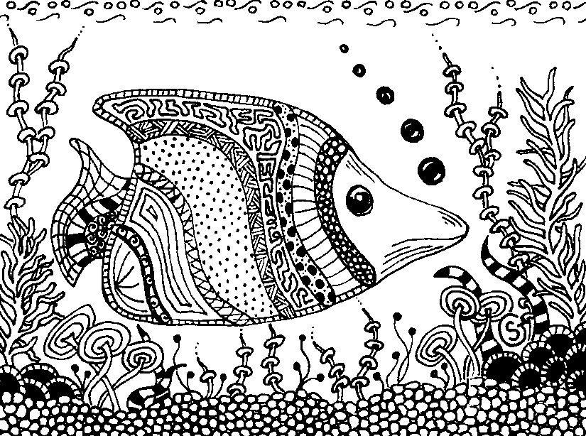 Kleurplaat vis | Зентангл, Рисунки и Раскраски