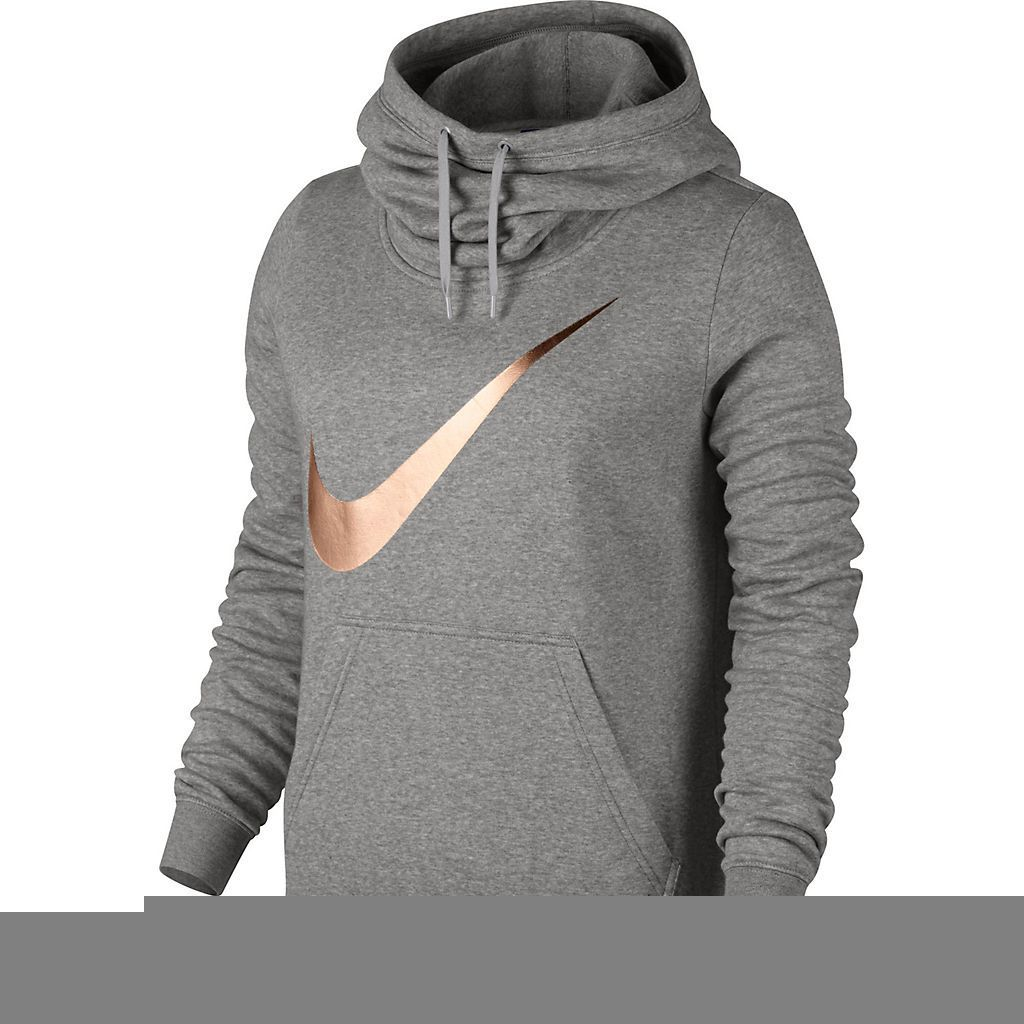 b355cc97000c Womens Nike Sportswear Funnel Neck Hoodie Color  Grey with rose gold swoosh  Size  xl Available at Fred Meyer as well
