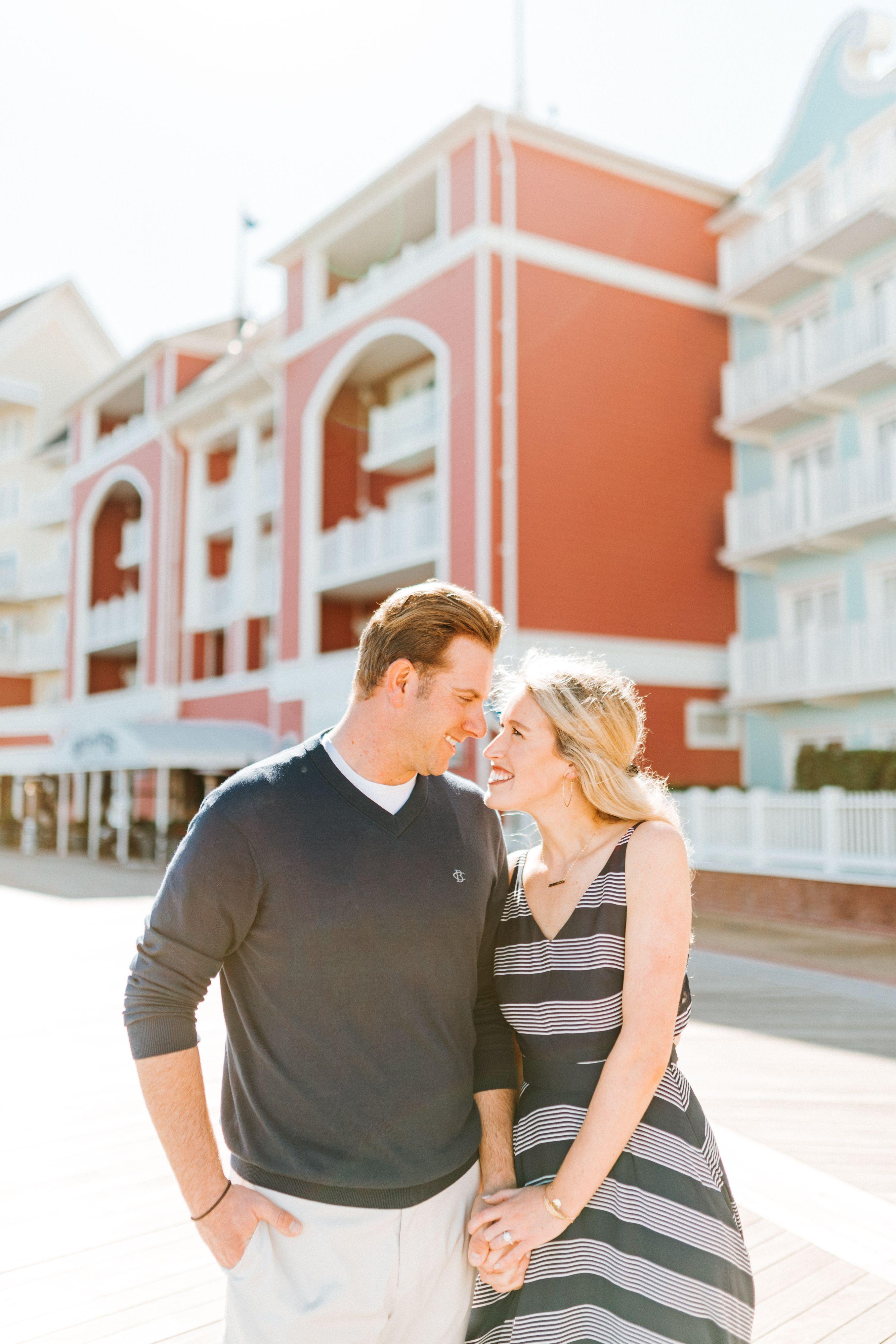 Sunny Morning Engagement on the Boardwalk near Epcot in Walt Disney World
