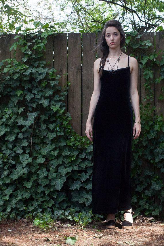 e73047702af Vintage 90s black velvet maxi slip dress    goth grunge long bodycon  camisole dress sz. S   M