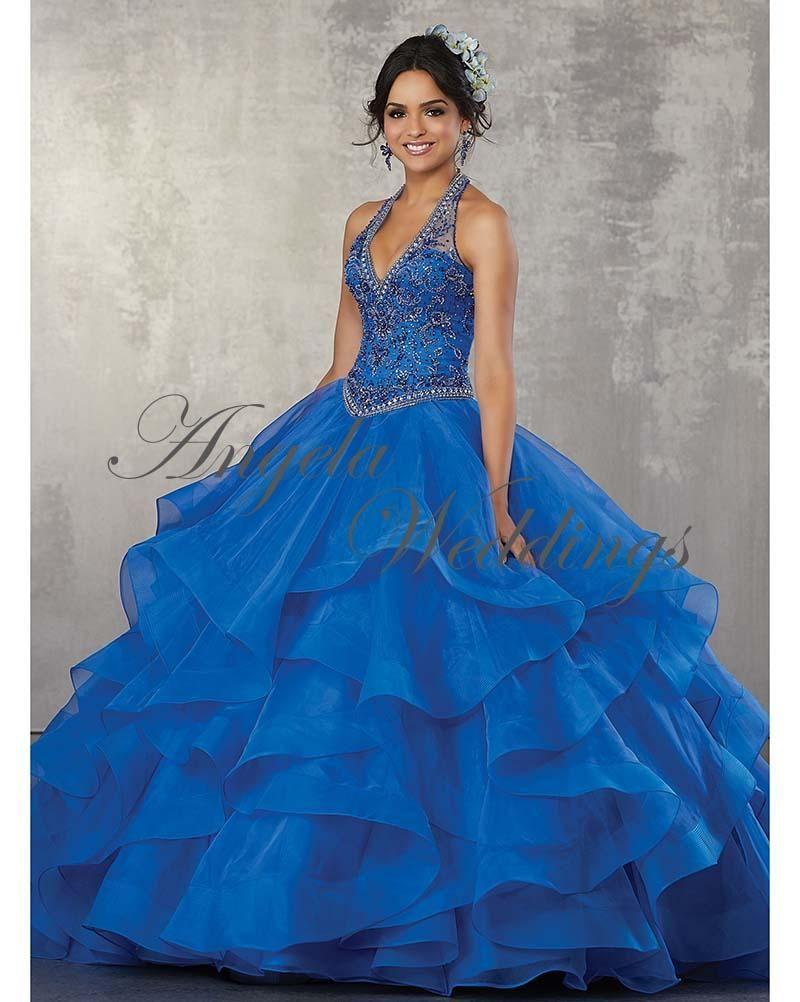 617ee9f991 Blue Quinceanera Dresses 2018 Halter Neckline Beaded Ball Gowns Sweet 16