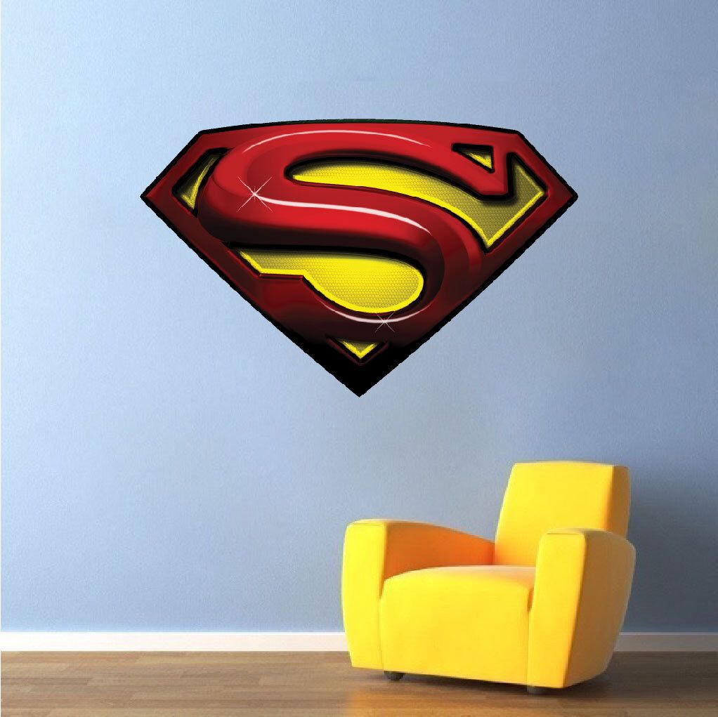 Superman Decals Bedroom Superhero Sticker Super Man Decal - Superhero wall decals for kids roomssuperhero wall decal etsy