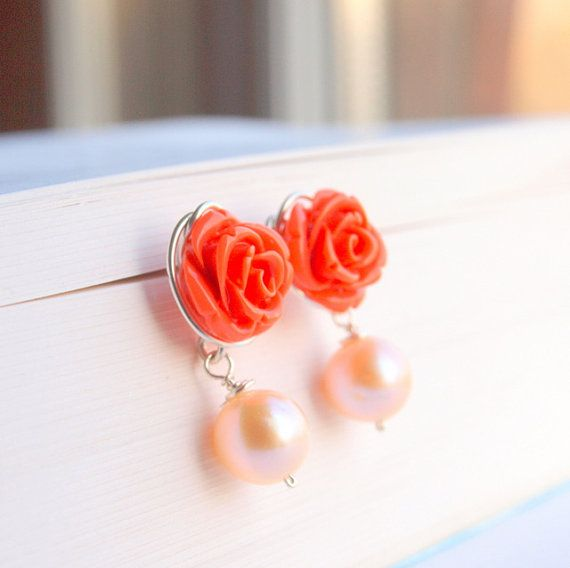 Peach rose flower stud with fresh water pearl silver