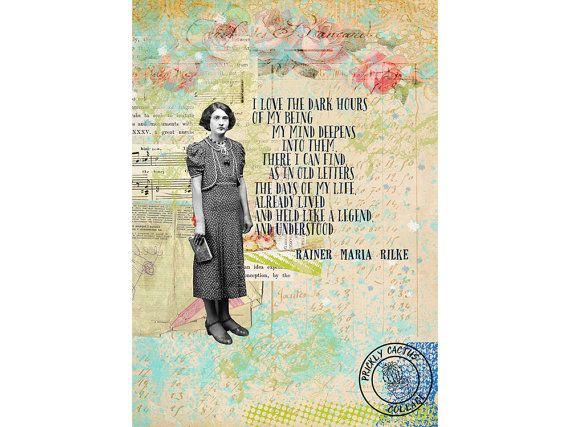PRINTABLE Rilke Original Collage Art, 5\ - print anniversary card