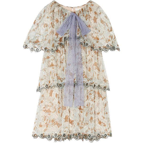 Chloé Ruffled printed silk-chiffon mini dress (€1.885) ❤ liked on Polyvore
