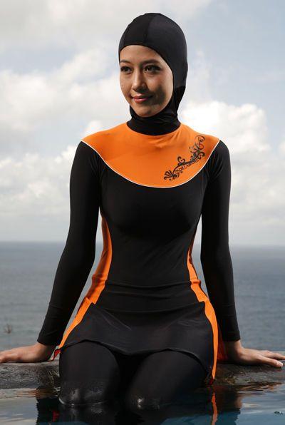 ed75ebc025ebf Full Cover Modest Swimwear Islamic Swimsuit Beachwear Jewish Hindu Burkini  - This stylish number resolves my issues with all black (on anyone) and no  doubt ...