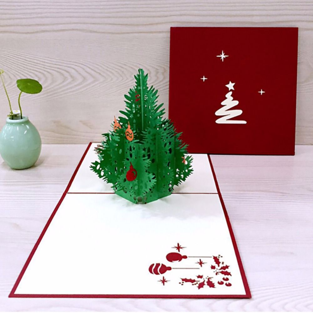 3d happy tree christmas cards greeting handmade paper card
