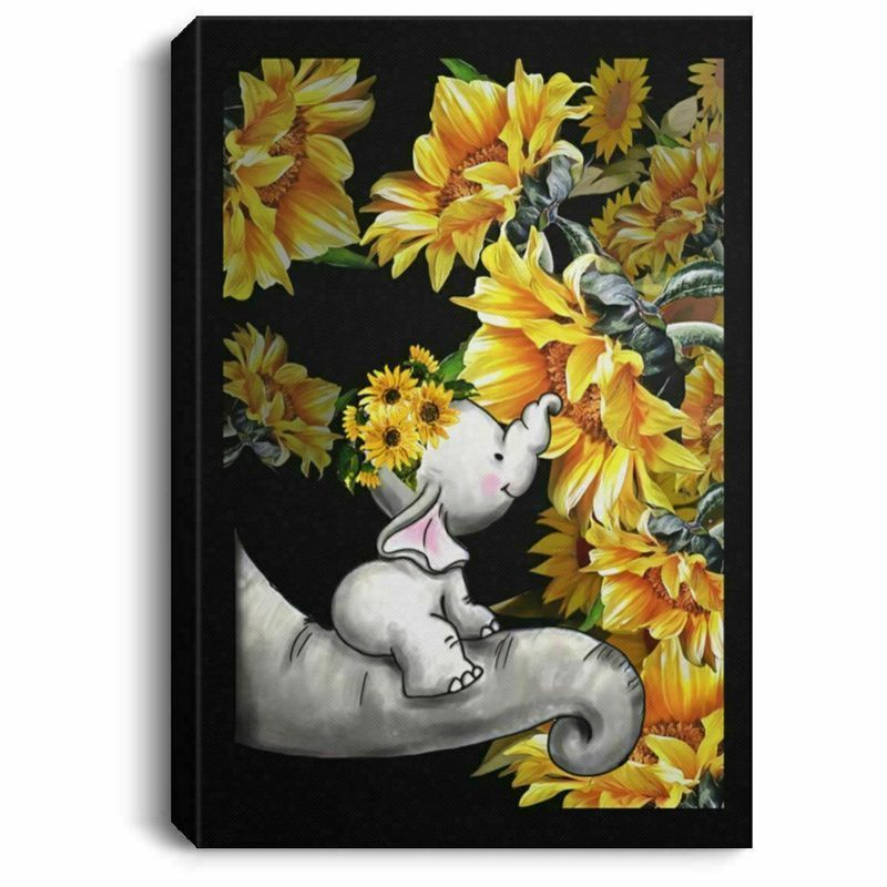 Baby Elephant & Sunflower Black Or Poster And Canvas